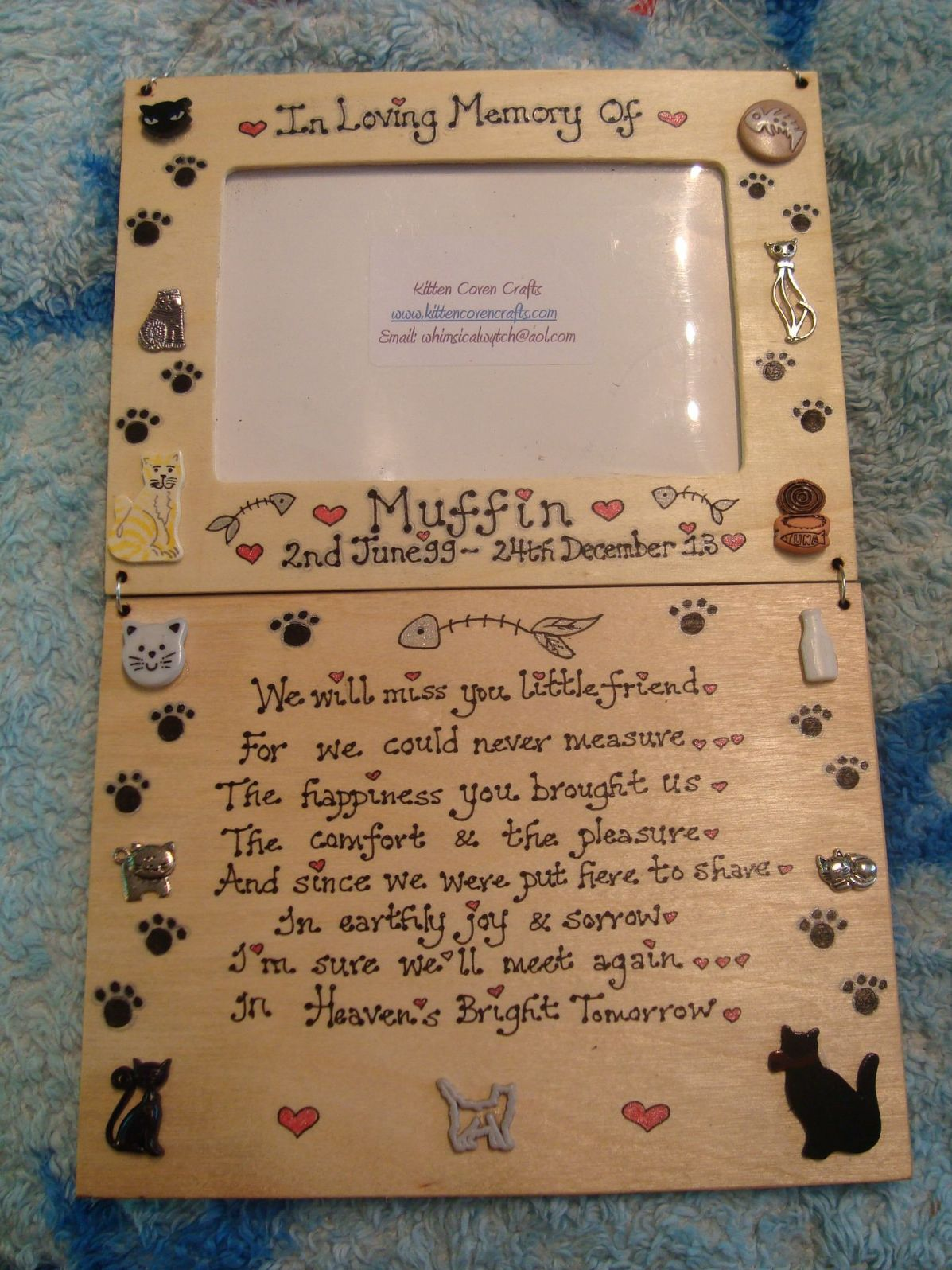 Pet Memorial Photo Frame & In Memory Of Verse Poem Plaque Sign ...